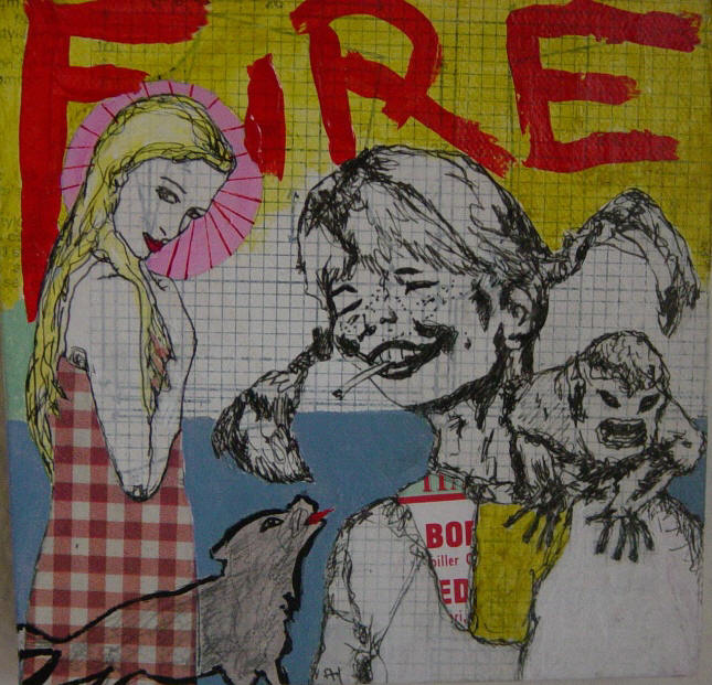Pippi and Paris says: light my fire! (15 x 15 cm)
